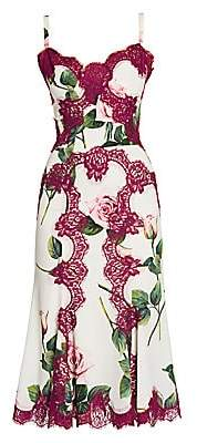 Dolce & Gabbana Women's Rose-Print Charmeuse Lace-Accent Dress