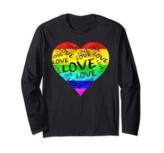 LGBT Rainbow Heart Love shirt Women Men Gay Pride tee Long Sleeve T-Shirt