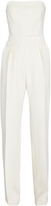Brandon Maxwell Strapless Silk-Wool Twill Jumpsuit