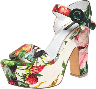 Dolce & Gabbana Multicolor Floral Brocade Ankle Strap Platform Block Heel Sandals Size 38.5