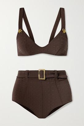 Lisa Marie Fernandez Net Sustain Magdalena Belted Seersucker Bikini - Dark brown