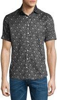 Etro Forest-Print Short-Sleeve Cotton Shirt, Black