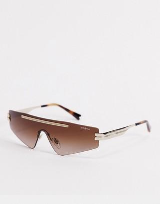Vogue x Millie Bobby Brown white visor sunglasses