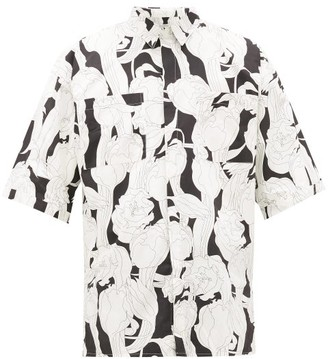 Givenchy Floral-print Cotton Short-sleeved Shirt - Black White