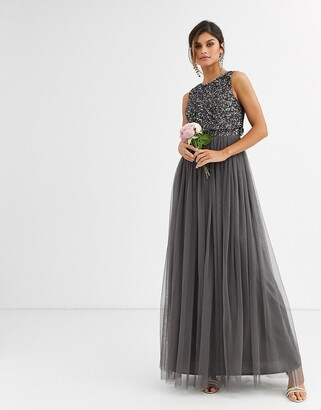 Maya Bridesmaid delicate sequin 2 in 1 maxi dress in dark grey