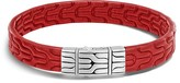 John Hardy Sterling Silver Classic Chain Bracelet with Red Leather