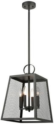 CLAXY Industrial 4-Light Black Pendant Light Hanging Foyer Lantern
