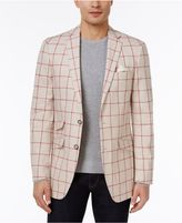 Tallia Men's Big and Tall Slim-Fit Cream/Red Windowpane Sport Coat