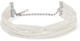 Rhodium-plated, Faux Pearl And Crystal Necklace - White