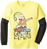 Nickelodeon Spongebob Boys' Super Sonic Sponge Long Sleeve Two-Fer T-Shirt