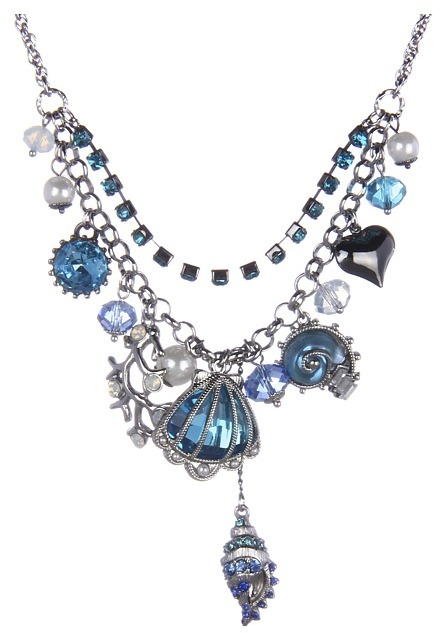 Betsey Johnson Iconic Blue Sea Seashell Multicharm Frontal Necklace (Blue) - Jewelry