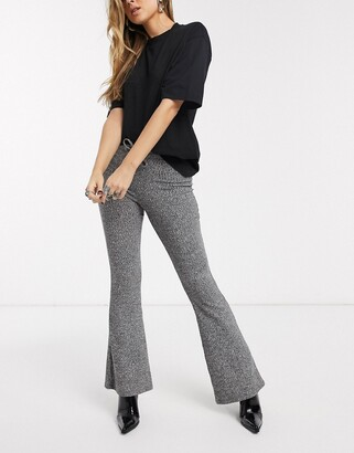 Topshop soft rib flared pants in charcoal