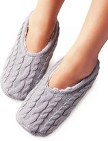 Vero Monte 2 Pairs Womens Knitted Slipper Socks (Size 8-9, Grey & Purple) 42131CA
