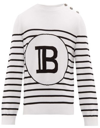 Balmain B Intarsia Striped Cotton Sweater - Mens - Black White