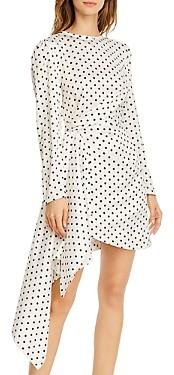 Keepsake Foolish Draped Polka-Dot Mini Dress