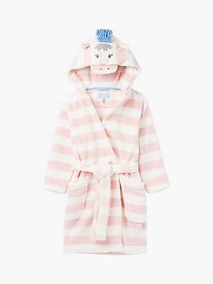 Joules Little Joule Girls' Giddy Horse Dressing Gown, Pink/White
