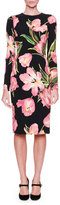 Dolce & Gabbana Long-Sleeve Tulip-Print Dress, Black/Rose Pink