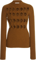 Victoria Beckham Argyle-Cutout Ribbed-Knit Sweater