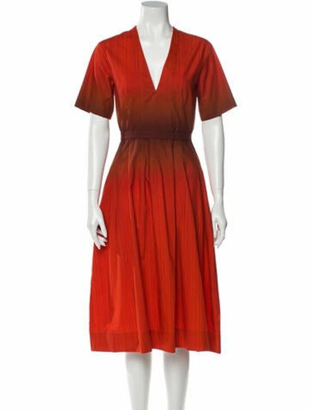 Narciso Rodriguez Plunge Neckline Midi Length Dress Red