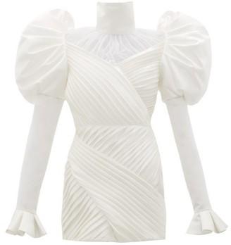 Richard Quinn Puff-shoulder Pleated-satin Mini Dress - Ivory