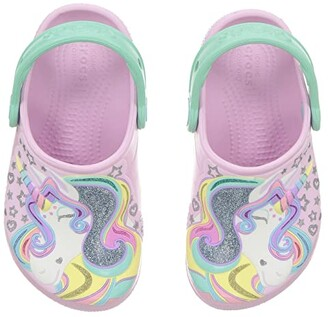 Crocs FunLab Unicorn Clog (Toddler/Little Kid) (Ballerina Pink/New Mint) Kid's Shoes