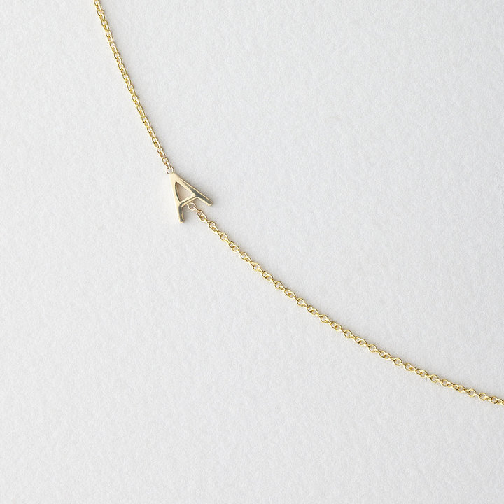 Maya Brenner DESIGNS asymmetrical mini letter necklace - a