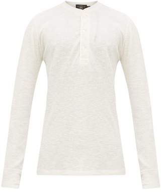Ralph Lauren RRL Long Sleeved Waffle Knit Cotton Henley Top - Mens - White