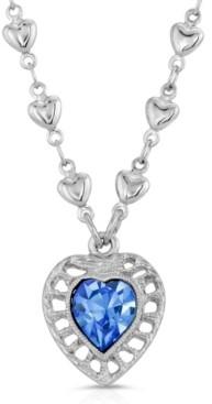 2028 Sapphire Swarovski Crystal Heart Pendant Necklace