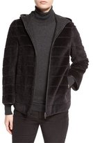 Loro Piana Striped Hooded Bomber Jacket, Caviar Black