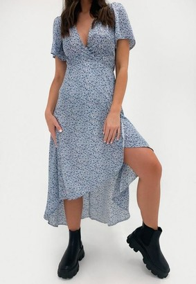 Missguided Petite Blue Floral High Low Wrap Midi Dress