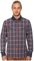 BOSS ORANGE Epunke Indigo Check Slim Fit Long Sleeve Button Up Shirt w/ Round Shaped Welt Pockets