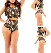 Prettyapparel Women's Summer Camouflage Bodycon Sexy Beach Swimsuit Bikini Set
