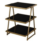 "Uttermost 24617 Garrity - 28"" 3-Tier Accent Table, Finish with Black Tempered Glass"