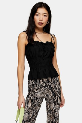 Topshop PETITE Black Shirred Cami