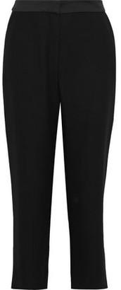 Diane von Furstenberg Soren Satin-trimmed Crepe Straight-leg Pants