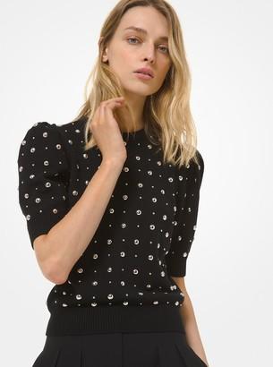 Michael Kors Studded Cashmere Short-Sleeve Sweater