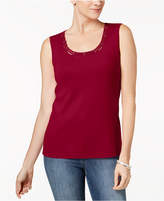 Karen Scott Petite Lattice-Neck Tank Top, Created for Macy's