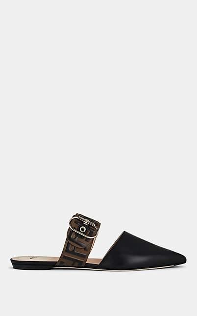 Fendi Women's Logo Leather Mules - Black
