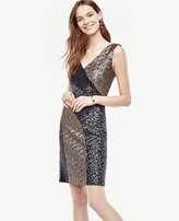 Ann Taylor Colorblocked Sequin Sheath Dress