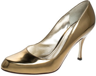 Dolce & Gabbana Metallic Gold Leather Round Toe Pumps Size 41