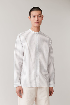 Cos Striped Linen Grandad Shirt