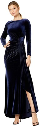 Vince Camuto Long Sleeve Gown w/ Drape Front (Navy) Women's Dress