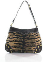Moschino Cheap & Chic Brown Beige Leather Canvas Abstract Print Shoulder Bag