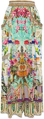 Camilla Crystal-embellished Printed Silk Crepe De Chine Wide-leg Pants