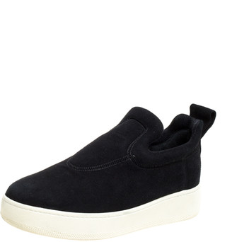 Celine Black Suede Platform Slip On Sneakers Size 38