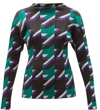Pleats Please Issey Miyake Shooting Star-print Technical-pleated Top - Green Multi