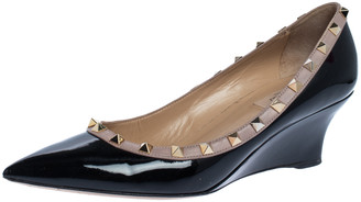 Valentino Black Leather Rockstud Pointed Toe Wedge Pumps Size 39.5