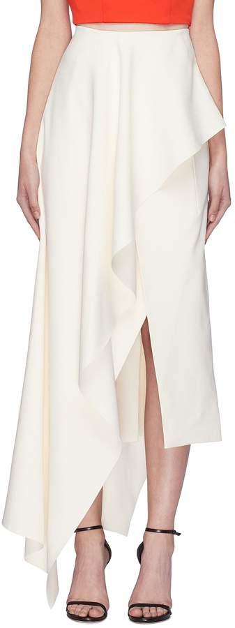 SOLACE London 'Diem' asymmetric ruffle drape midi skirt