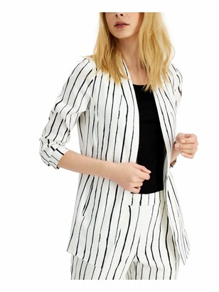 Alfani Womens White Striped Blazer Jacket UK Size:16