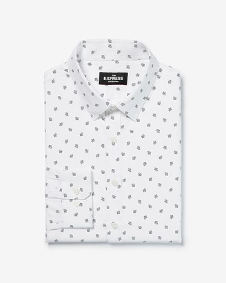 Express Classic Printed Button-Down Wrinkle-Resistant Performance Dress Shirt